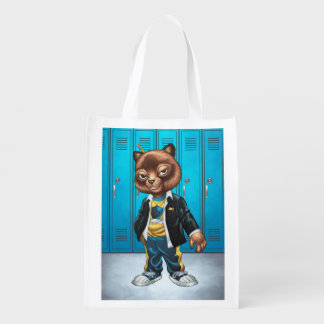 Cool For School Cat Drawing by Al Rio Grocery Bag