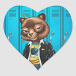 Cool For School Cat Drawing by Al Rio Heart Sticker