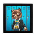 Cool For School Cat Drawing by Al Rio Jewelry Box