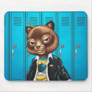 Cool For School Cat Drawing by Al Rio Mouse Pad