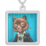 Cool For School Cat Drawing by Al Rio Personalized Necklace
