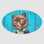 Cool For School Cat Drawing by Al Rio Oval Sticker