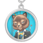 Cool For School Cat Drawing by Al Rio Pendants