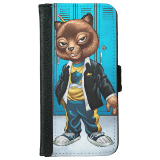 Cool For School Cat Drawing by Al Rio iPhone 6 Wallet Case