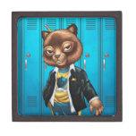 Cool For School Cat Drawing by Al Rio Premium Trinket Box