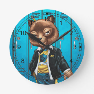 Cool For School Cat Drawing by Al Rio Round Clock