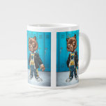 Cool For School Cat Drawing by Al Rio Extra Large Mug