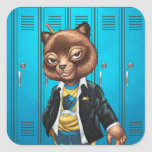 Cool For School Cat Drawing by Al Rio Square Sticker