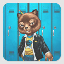 cat, kitten, school, cool cat, smiling, learning, lockers, art, drawing, al rio, happy, congrats, Sticker with custom graphic design