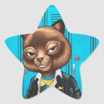 Cool For School Cat Drawing by Al Rio Star Sticker