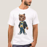 Cool For School Cat Drawing by Al Rio T-Shirt