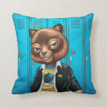 Cool For School Cat Drawing by Al Rio Throw Pillow