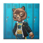 Cool For School Cat Drawing by Al Rio Ceramic Tiles