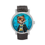 Cool For School Cat Drawing by Al Rio Wrist Watches