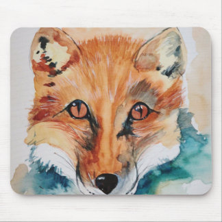 Cool Fox Watercolor Painting Mouse Pad