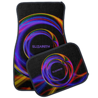 Cool Fractal Psychedelic Neon Glow Abstract Ball Car Floor Mat