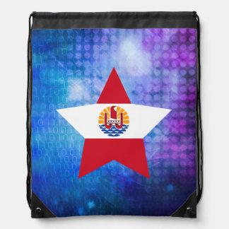 Cool French Polynesia Flag Star Cinch Bags