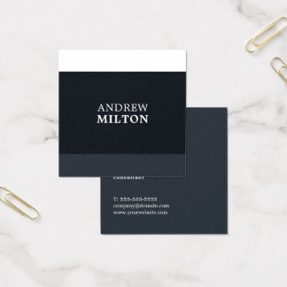 Cool Fresh Blue White Stripes Consultant Square Business Card