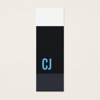 Cool Fresh Blue White Stripes Monogram Consultant Mini Business Card