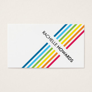 COOL FRESH colorful bold rainbow stripe Business Card