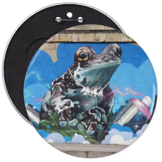 Cool Frog Between Spray Cans Graffiti Button