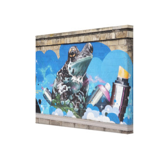 Cool Frog Between Spray Cans Graffiti Canvas Prints