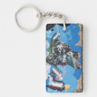 Cool Frog Between Spray Cans Graffiti Keychain