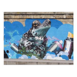 Cool Frog Between Spray Cans Graffiti Postcard