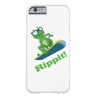 Cool frog on a snowboard, custom background color barely there iPhone 6 case