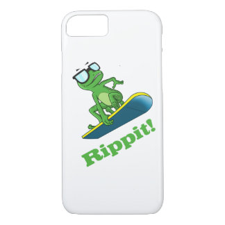 Cool frog on a snowboard, custom background color iPhone 7 case