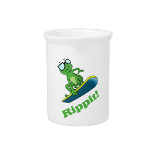 Cool frog on a snowboard, Custom Color Drink Pitcher