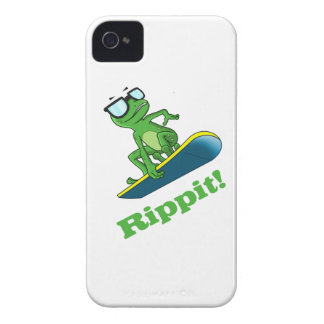 Cool frog on a snowboard, Custom Color iPhone 4 Case