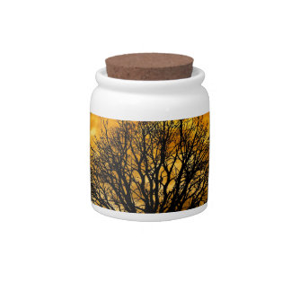 Cool Full Harvest Moon Tree Silhouette Gifts Candy Jars