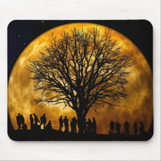 Cool Full Harvest Moon Tree Silhouette Gifts Mouse Pad