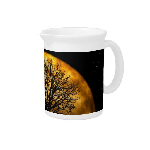 Cool Full Harvest Moon Tree Silhouette Gifts Beverage Pitchers