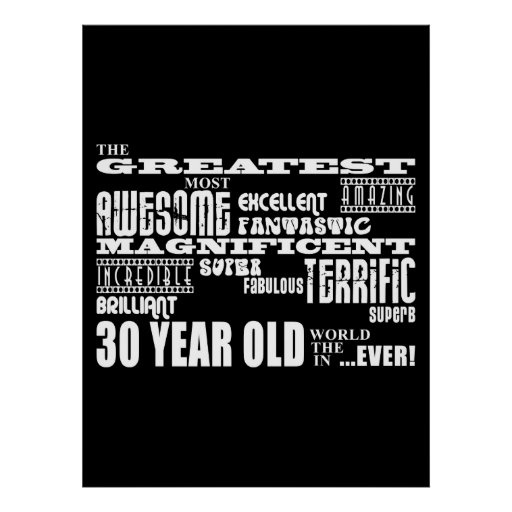 Birthday Date Poster: Cool Fun 30th Birthday Party Greatest 30 Year Old Posters