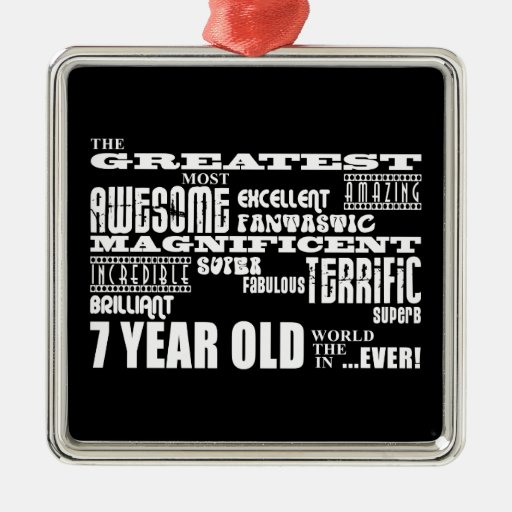 Cool Fun 7th Birthday Party Greatest 7 Year Old Square Metal Christmas Ornament