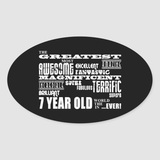 Cool Fun 7th Birthday Party Greatest 7 Year Old Oval Sticker