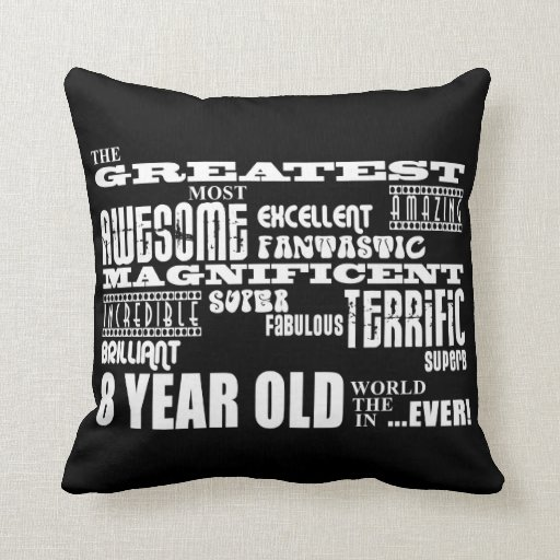 Cool Fun 8th Birthday Party Greatest 8 Year Old Throw Pillows