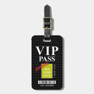 Cool fun black and white customizable VIP Pass… Bag Tag