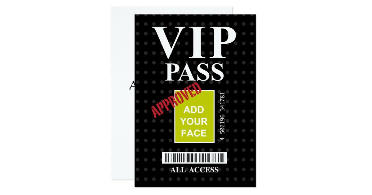 Cool fun black and white customizable VIP Pass… Card | Zazzle