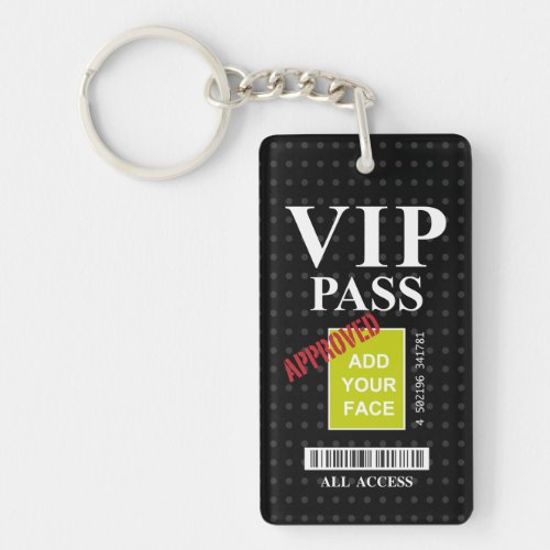 Cool fun black and white customizable VIP Passâ Keychain