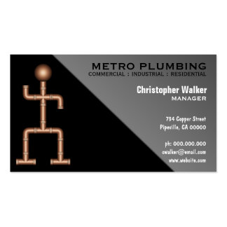 Cool Fun Black Gray Plumber Plumbing Business Card