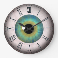 Cool Fun Blue Eye Eyeball Roman Large Round Clock