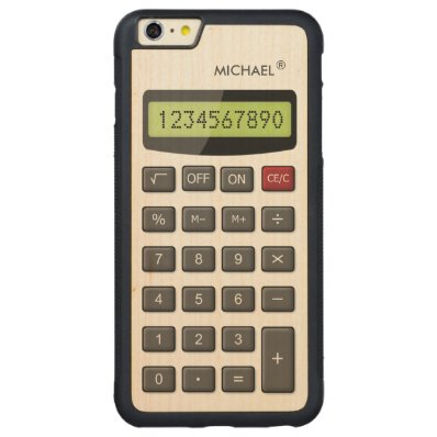 Cool Fun Calculator Pattern with Custom Text Carved® Maple iPhone 6 Plus Bumper Case