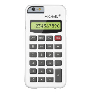 Cool Fun Calculator Pattern with Custom Text Barely There iPhone 6 Case