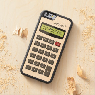 Cool Fun Calculator with Custom Text Carved® Maple iPhone 6 Bumper Case