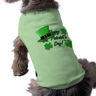 Cool fun Green top hat  Shamrocks St. Patricks Day Dog Tee Shirt