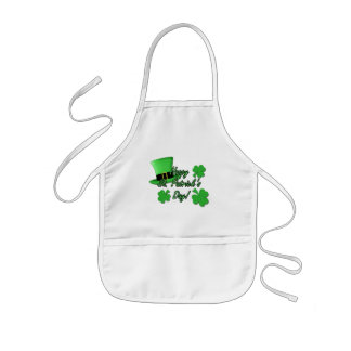 Cool fun Green top hat  Shamrocks St. Patricks Day Kids' Apron