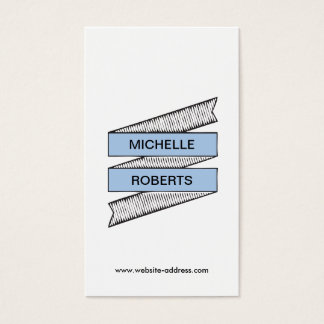 COOL & FUN HAND-DRAWN RIBBON LOGO in BLUE Business Card